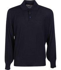 brunello cucinelli ribbed plain longsleeve polo shirt