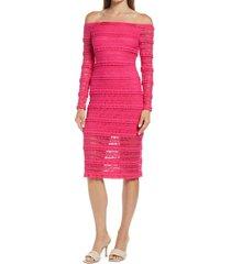 women's sho by tadashi shoji crinklela off the sho by tadashi shojiulder long sleeve lace dress, size small - pink