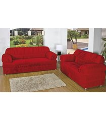 capa de sofá brastuca 2 peças 21 elásticos vermelho