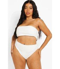 plus geribbeld mini bikini broekje, white