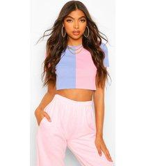 tall geribbelde colour block top met lange mouwen en hoge hals, roze
