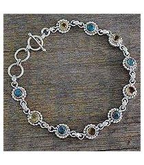 citrine link bracelet, 'petite flowers' (india)