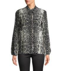 kobi halperin women's regina printed silk peasant blouse - pumice - size xs