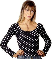 blusa ficalinda manga longa poá preta de bolas brancas decote redondo
