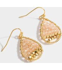 maria small beaded teardrop earrings - pale pink