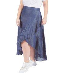falda adrissa plus larga cruzada asimetrica denim azul indigo