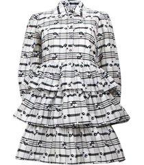 anya dress in white/black blossom check