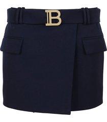 balmain short belted grain de poudre skirt