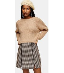 camel swirl cropped sweater - camel