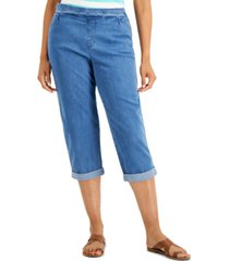 karen scott petite denim pull-on capri pants, created for macy's