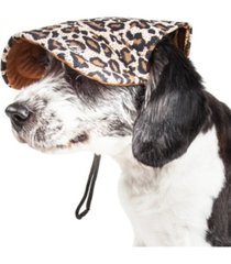 pet life 'cheetah bonita' cheetah patterned uv protectant adjustable dog hat cap