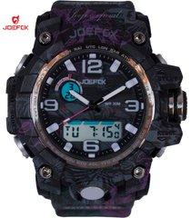 reloj unisex joefox plastico camuflaje hojas 1523b - rosado