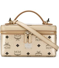 mcm all-over logo print tote bag - gold
