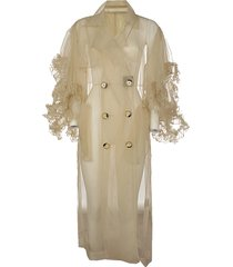 rouche sleeves tulle trench coat