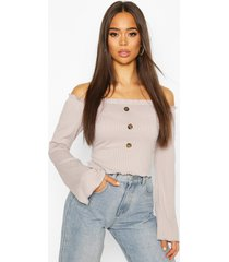 bardot top with fluted edge & bell sleeves, silver