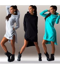 autumn ladies casual loose hoodie dress women plus size hoody pullover hooded dr
