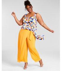 nina parker trendy plus size asymmetrical wrap pants, created for macy's