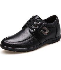 scarpe casual stringate con tacco rialzato in pelle di mucca da uomo