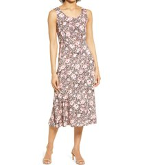 connected apparel floral sleeveless tie back midi dress, size 12 in dusty rose at nordstrom