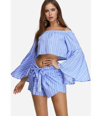 stripe off shoulder flared sleeves crop top & short co-ord