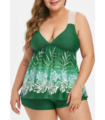 contrast leaves print lace straps plus size tankini swimsuit