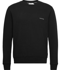chest embroidery sweatshirt sweat-shirt trui zwart calvin klein