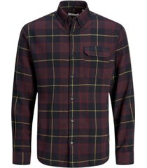 jack & jones men's essential flat collar long sleeve check shirt