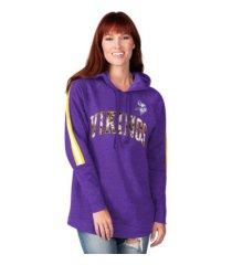 g-iii sports minnesota vikings women's double team tunic hoodie