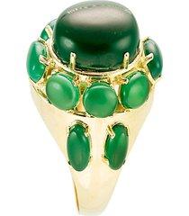 anel  oval  semijoia banho de ouro 18k pedra natural jade - verde - feminino - dafiti