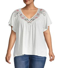 plus floral embroidered t-shirt