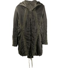 masnada cross-panel hooded parka - green