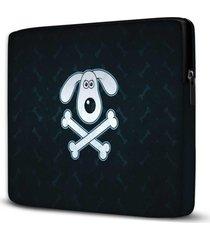 capa para notebook dog skull 15.6 a 17 polegadas - preto - dafiti