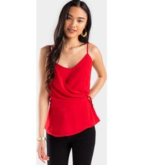 audri side tie tank top - red