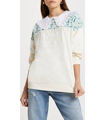river island womens cream ri couture floral block sweatshirt