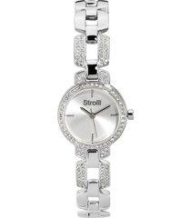 versailles - orologio da polso solo tempo con cassa e cinturino in acciaio e strass e quadrante silver per donna