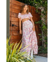 womens strike a rose floral maxi skirt - nude