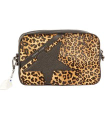 golden goose embellished star leopard print shoulder bag