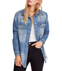free people moonchild oversize shirt jacket, size large in indigo at nordstrom