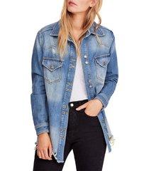 women's free people moonchild oversize shirt jacket, size medium - blue