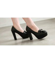 pp421 sweet bowtie pumps, square heels, pu leather , size 4-10, black