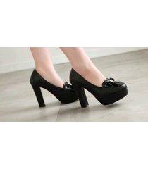 pp421 sweet bowtie pumps, square heels, pu leather , size 4-10, black