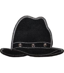 id 7972 black jeweled hat fashion iron on embroidered patch applique