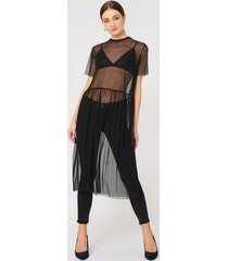 na-kd dotted mesh midi dress - black