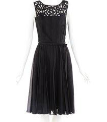 oscar de la renta black geometric pleated belted dress black/geometric sz: xs