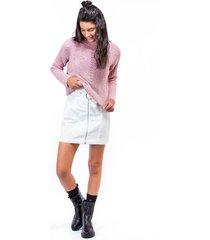 suéter tejido para mujer con cuello vuelto rosa