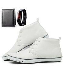 kit sapatênis cano alto com carteira e relógio mb outlet branco