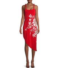 johanna ortiz women's focus & flower silk dress - red - size 4