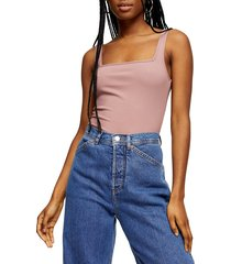 women's topshop square neck ribbed bodysuit, size 14 us (fits like 16-18) - pink