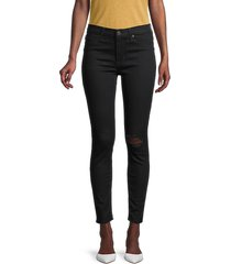 hudson women's mid-rise distressed ankle jeans - black - size 32 (10-12)