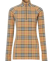 burberry check turtleneck zip top - multicolour